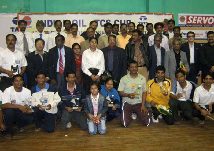 Title winners of the Indian Oil-TCS Cup All-Orissa Open Badminton ...