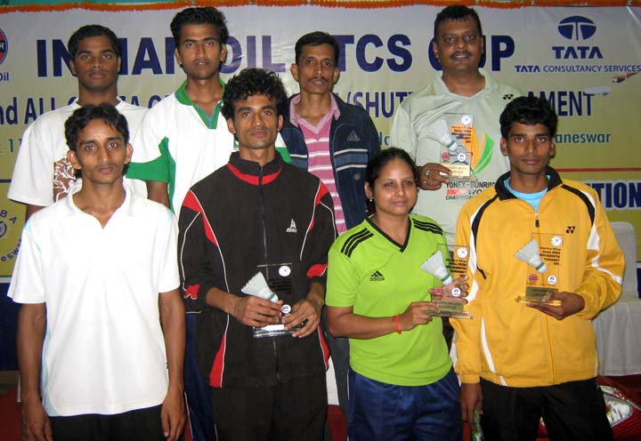Title winners of the Indian Oil-TCS Cup 2nd All-Orissa Open Badminton Tournament in Bhubaneswar on <b>Dec 13, 2009.