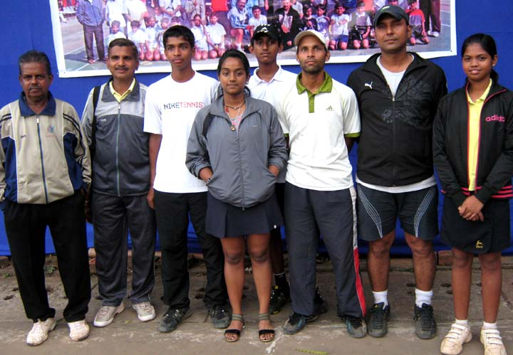 Title winners of the 11th Nalco Open All-Orissa Tennis Tournament in Bhubaneswar on <b>Dec 13, 2009.