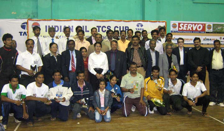 Prize winners, guests and officials of the Indian Oil-TCS Cup All-Orissa Open Badminton Tournament in Bhubaneswar on <b>Dec 13, 2009.