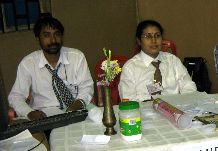 Chief referee Rita Dash (R) and her deputy B K Bag at the Indian Oil-TCS Cup All-Orissa Open Badminton Tournament in Bhubaneswar on <b>Dec 12, 2009.