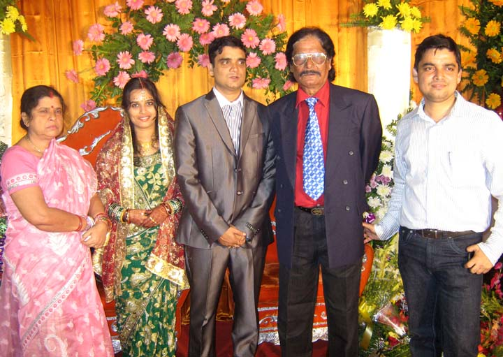 Swayangsu Satyapragyan with wife Sabita, parents and brother at his wedding reception party in Bhubaneswar on <b>Dec 15, 2009.