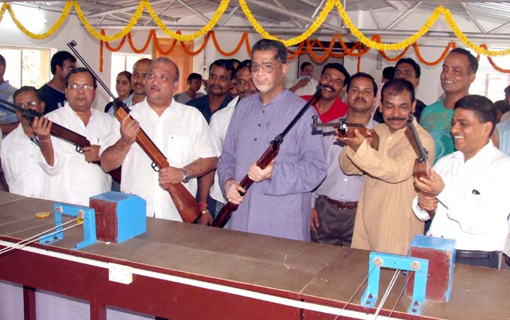An indoor shooting range is inaugurated at Utkal Karate School in Bhubaneswar on March 17, 2010.