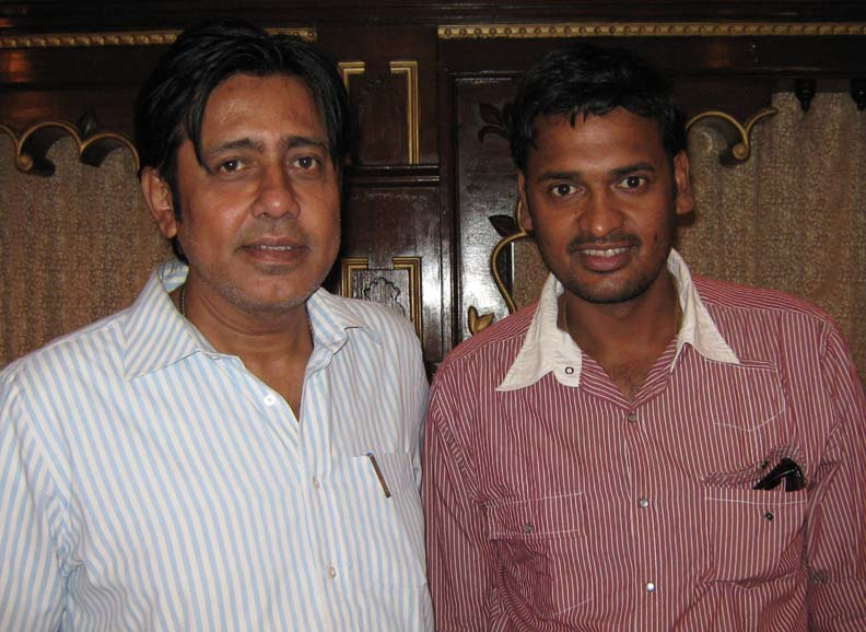 Former Test cricketer Debasis Mohanty (R) with his friend C P Sharma in Bhubaneswar on April 11, 2010.