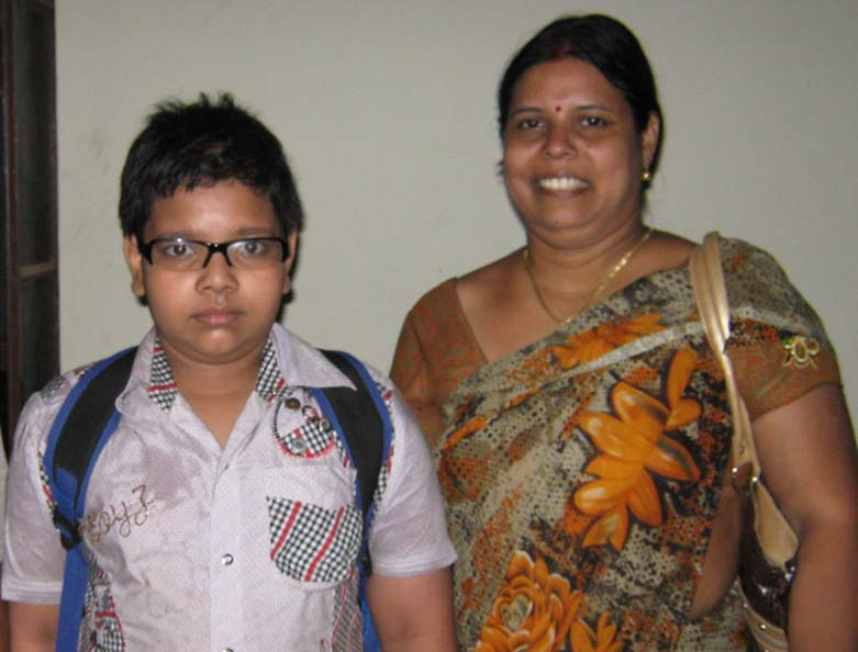 Chess player Soumen Amlan with his mother Gitanjali Mishra in Bhubaneswar on April 11, 2010.