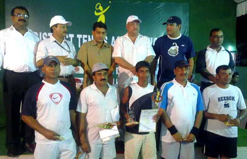 Prize winners and guests at the closing function of the Puri Open All-Orissa Tennis Tournament in Puri on April 4, 2010.