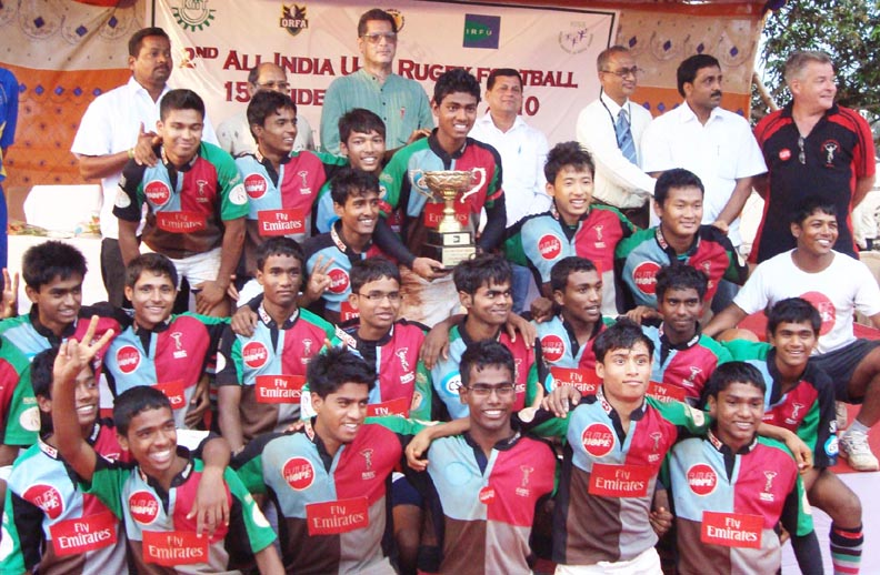Players of Future Hope celebrate after winning the All-India Under-16 Rugby tournament in Bhubaneswar on April 30, 2010.