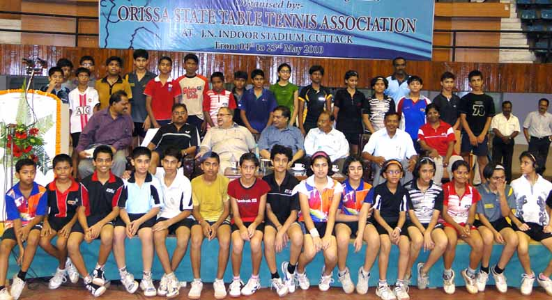 Players, officials and guests at the inauguration of the National table tennis coaching camp in Cuttack on May 7, 2010.