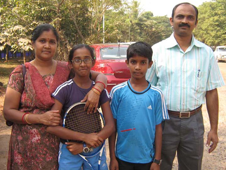 Orissa tennis players Shreya and Sourav Sahoo with their parents in Bhubaneswar in 2009.