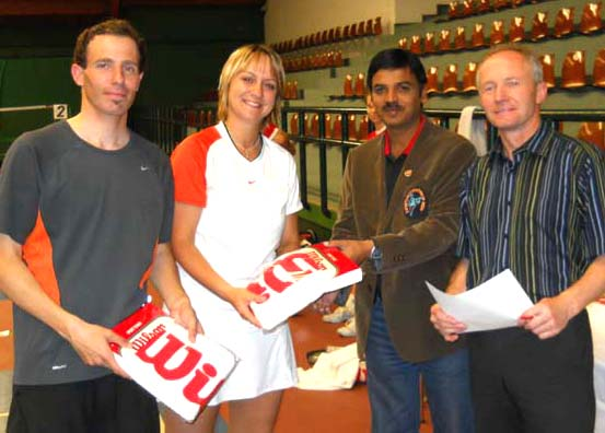 RFI executive president Manoranjan Mishra (2nd from right) gives away the prizes at the Vienna Classics Racketlon Championship in Vienna on May last week, 2010.