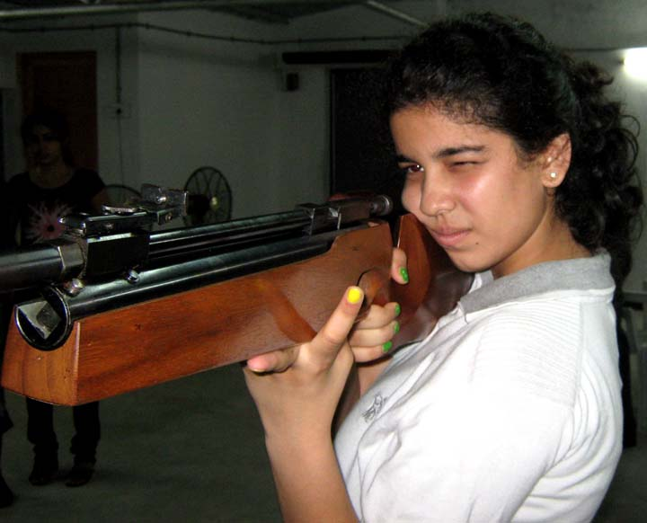 Oriss-born international shooter Shriyanka Sadangi at Utkal Karate School in Bhubaneswar on June 25, 2010.