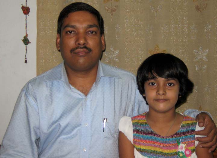Orissa chess player Saina Salonika with her father Ganeswar Jena in Bhubaneswar on July 1, 2010.