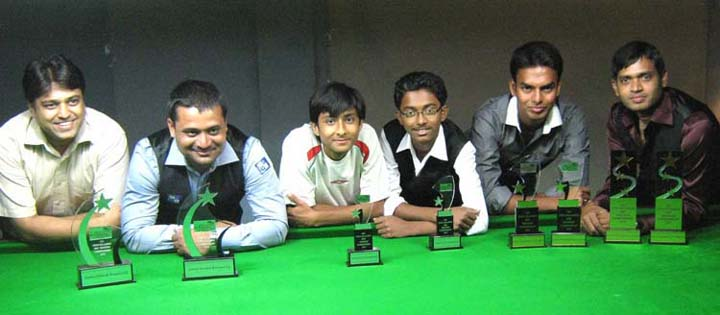 Subrat Das (First from right) and other trophy winners of the State Billiards andSnooker Championship in Bhubaneswar on July 12, 2010.