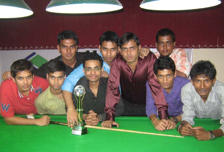Prize winners and competitors at the closing function of the SJ Cup Snooker Tournament in Bhubaneswar on August 14, 2010.