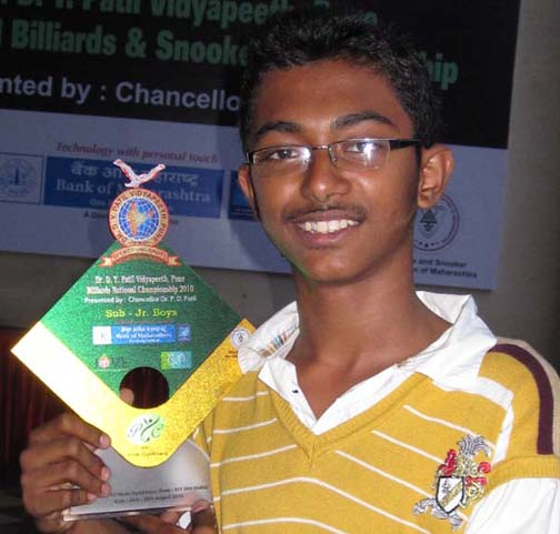 Ashutosh Padhy with the National Sub-junior Billiards Trophy in Pune on August 22, 2010.