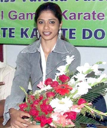 Valena Valentina gets felicitation in Bhubaneswar on Feb 17, 2011 for winning one gold and one silver in the 34th National Games.