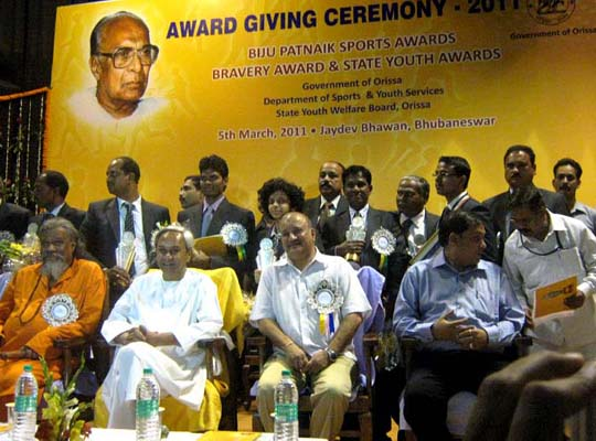 Guests and awardees at the conferment function of the Biju Patnaik Sports Award in Bhubaneswar on March 5, 2011.