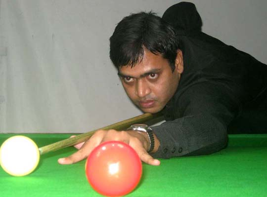 Subrat Das in action at the State Billiards and Snooker Championship in Bhubaneswar on June 19, 2011.