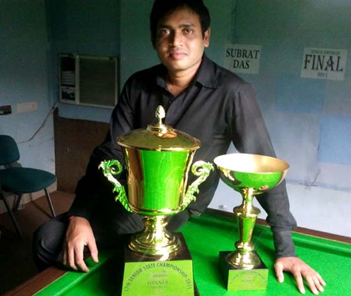 State senior billiards and snooker champion Subrat Das in Bhubaneswar on June 26, 2011.