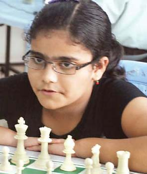Orissa chess player Anwesha Mishra in Bhubaneswar on August 10, 2011.