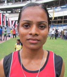 Orissa athlete Dutee Chand at the East Zone Athletics Championship in Kolkata in August 2011.