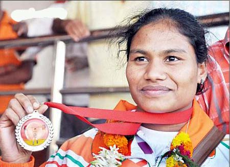 File photo of Orissa woman weightlifter Pramila Kirsani