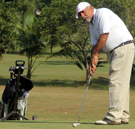 Sunil Taneja in action at the BGC Corporate Golf Tournament in Bhubaneswar on Nov 19, 2011.