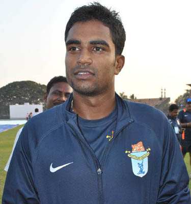 Odisha all-rounder Biplab Samantaray in Sambalpur on Nov 18, 2011.