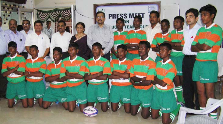 Players, officials and sponsors of the KISS rugby team in Bhubaneswar on 30th July 2008