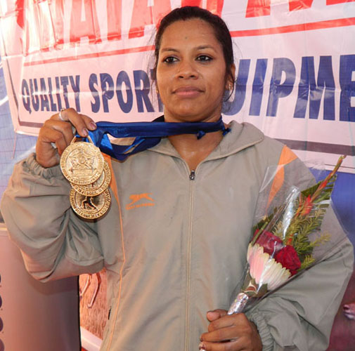 Odisha lifter Tikina Gopal at the Senior National Championship in Berhampur on Dec 25, 2011.