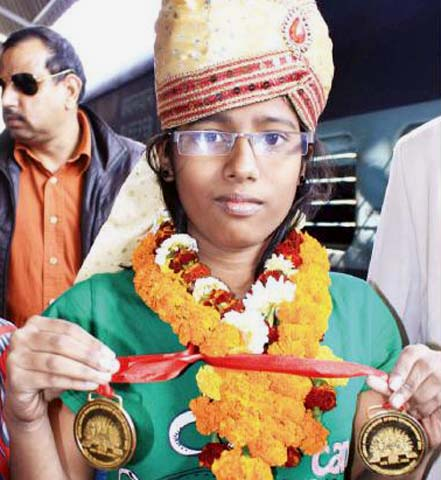 Odisha chess player Smaraki Mohanty in Cuttack on Dec 25, 2011.