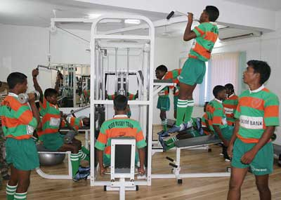 Players of KISS rugby team working out at the school gymnasium in Bhubaneswar on 2nd August 2008.