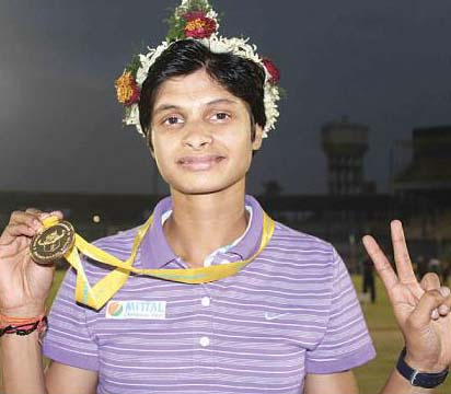 Odisha woman sprinter Srabani Nanda at Barabati Stadium, Cuttack on December 30, 2011.