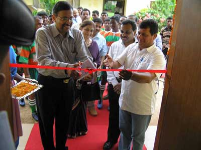 Exim Bank CMD Subramanian inaugurates a gymnasium at the KISS School in Bhubaneswar on August 2, 2008.