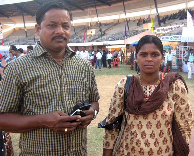 Odisha woman hurdler Sahebani Oram with husband Manoj Sahu at Kalinga Stadium in Bhubaneswar on Feb 5, 2012.
