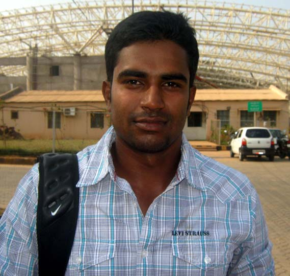 Odisha all-rounder Biplab Samantaray in Bhubaneswar on Feb 15, 2012.