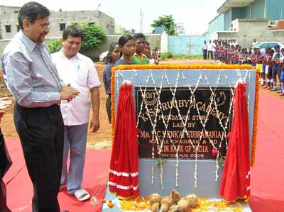 Exim Bank CMD Subramanian lays the foundation of the rugby ground at the KISS School in Bhubaneswar on August 2, 2008.