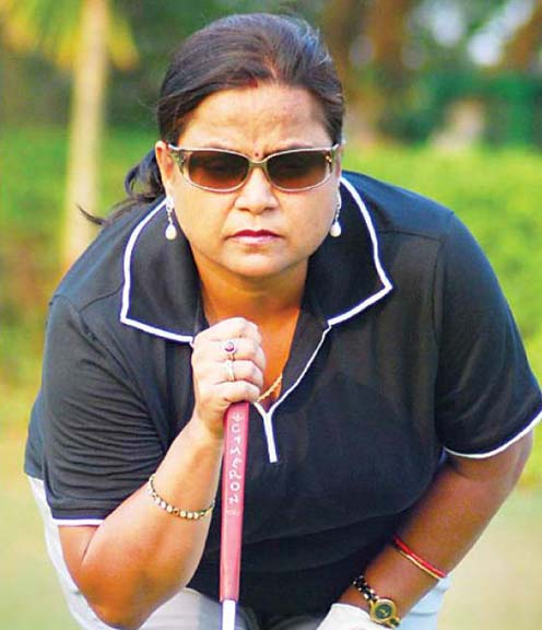 Lady golfer Lakhi Swain at the BGC Course in Bhubaneswar on March 23, 2012.
