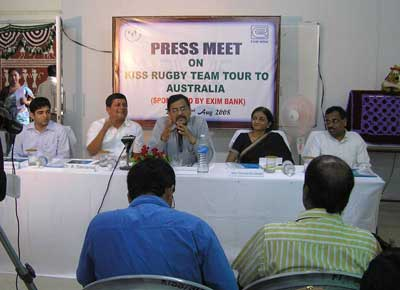 Officials of Exim Bank and KISS school at the press conference in Bhubaneswar on August 2, 2008 to brief on the school rugby team``s tour to Australia.