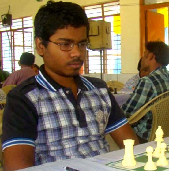 Utkal Ranjan Sahoo at the State Senior Chess Championship in Angul on April 7, 2012.