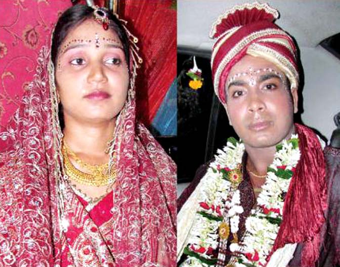 Alok Sahoo and wife Purnamasi at their wedding ceremony in Cuttack on June 28, 2012.