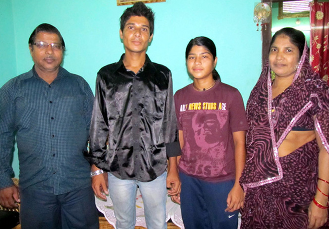 File photo of woman cricketer Rasanara Parbin with her parents and brother.