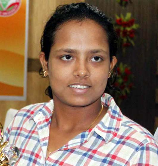 Odisha woman cricketer Swagatika Rath in Bhubaneswar on April 25, 2013.