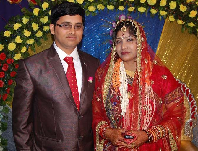 Sports journalist Gyana Ranjan Mishra with his wife Bhabana at their marriage reception at Sambalpur on May 14, 2013.