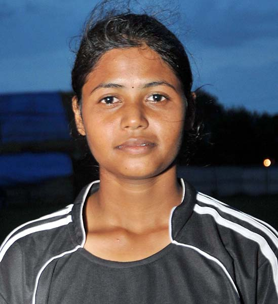 Odisha woman footballer Suvaprava Rout in Bhubaneswar on September 8, 2013.