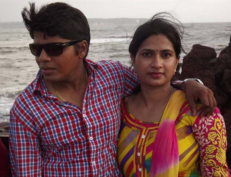 Subit Biswal, one of leading all-rounders of Cricket Odisha, with his beautiful wife at an unknown place and unknown date. <b>Uploaded on June 29, 2014.</b>