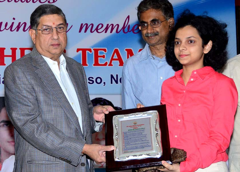 BCCI strongman and India Cements Ltd Managing Director N Srinivasan felicitates Olympiad gold medallist WGM Padmini Rout at Chennai on Sept 4, 2014.