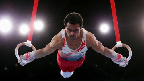 Ace Odisha gymnast Rakesh Kumar Patra in action on roman rings.