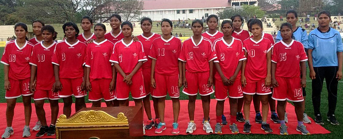 Odisha women football team poses after winnings silver medal at the 35th National Games in Kerala on February 10, 2015.
