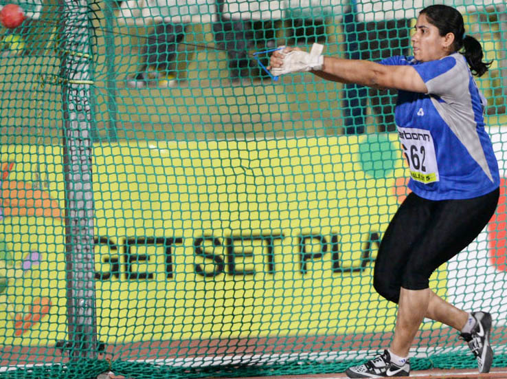 Woman hammer thrower Sarita Singh on her way to gold medal win for Odisha in the 35th National Games in Kerala on February 9, 2015.